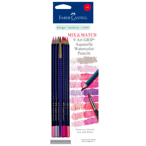 Faber-Castell - Mix and Match Collection - Art Grip Watercolor Pencils - Red - 9 Piece Set