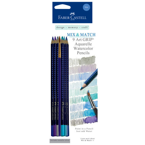 Faber-Castell - Mix and Match Collection - Art Grip Watercolor Pencils - Blue - 9 Piece Set