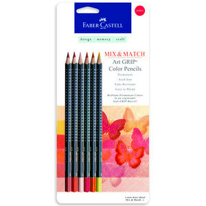 Faber-Castell - Mix and Match Collection - Art Grip Color Pencils - Red - 6 Piece Set