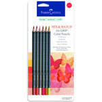 Faber-Castell - Mix and Match Collection - Art Grip Color Pencils -Red - 6 Piece Set