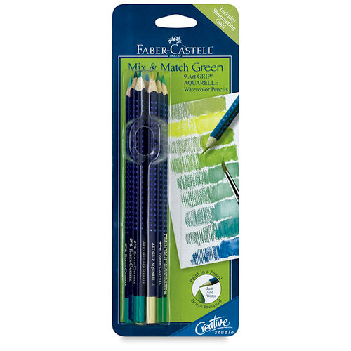 Faber-Castell - Mix and Match Collection - Art Grip Color Pencils -Green - 6 Piece Set