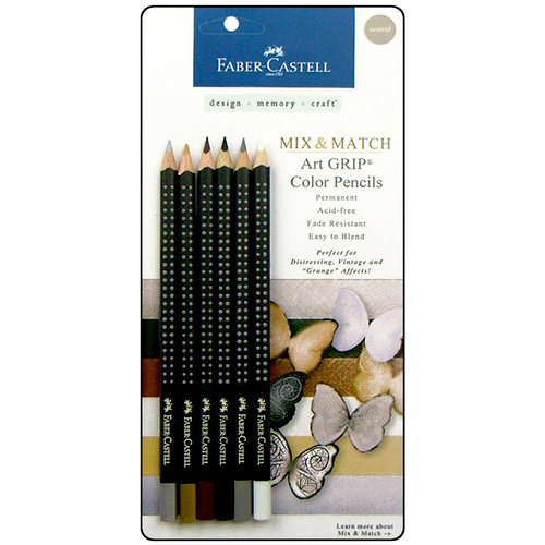 Faber-Castell - Mix and Match Collection - Art Grip Color Pencils - Neutral - 6 Piece Set