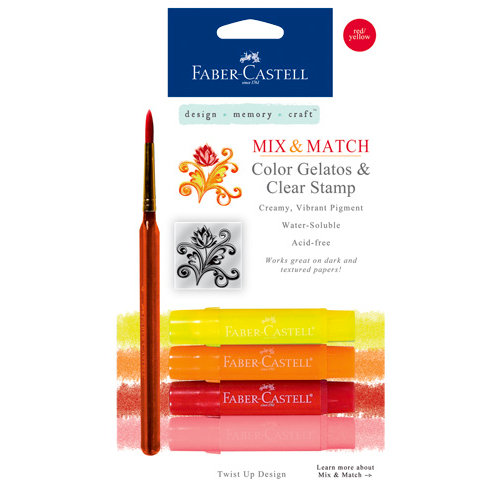 Faber-Castell - Mix and Match Collection - Color Gelatos - Red and Yellow - 4 Piece Set with Clear Acrylic Stamp