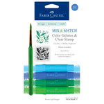 Faber-Castell - Mix and Match Collection - Color Gelatos - Blue and Green - 4 Piece Set with Clear Acrylic Stamp