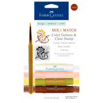 Faber-Castell - Mix and Match Collection - Color Gelatos - Neutrals - 4 Piece Set with Clear Acrylic Stamp