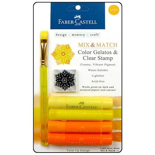 Faber-Castell - Mix and Match Collection - Color Gelatos - Yellow - 4 Piece Set with Clear Acrylic Stamp