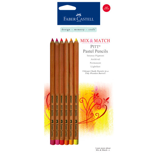 Faber-Castell - Mix and Match Collection - Pitt Pastel Pencils - Red and Yellow - 6 Piece Set