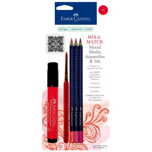 Faber-Castell - Mix and Match Collection - Mixed Media Pencils and Ink - Red - 4 Piece Set