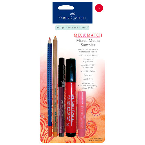 Faber-Castell - Mix and Match Collection - Mixed Media Sampler - Red - 5 Piece Set