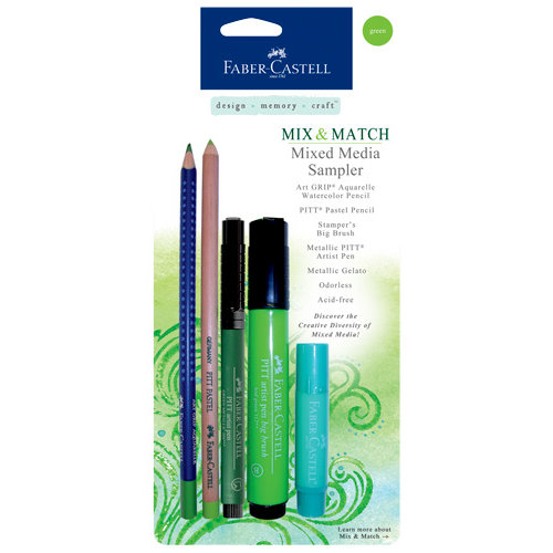 Faber-Castell - Mix and Match Collection - Mixed Media Sampler - Green - 5 Piece Set