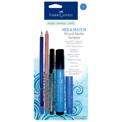 Faber-Castell - Mix and Match Collection - Mixed Media Sampler - Blue - 5 Piece Set