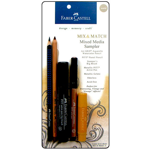 Faber-Castell - Mix and Match Collection - Mixed Media Sampler - Metallics Neutral - 5 Piece Set