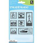 Inkadinkado - Clear Acrylic Stamp Set with Acrylic Block - Travel Postage Stamps