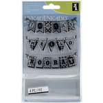 Inkadinkado - Clear Acrylic Stamp Set with Acrylic Block - Pennants