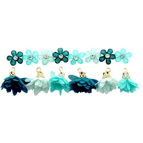Jesse James - Buttons - Flower Combo Turquoise