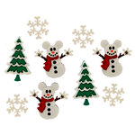 Jesse James - Disney - Buttons - Mickey Snowmen - Christmas