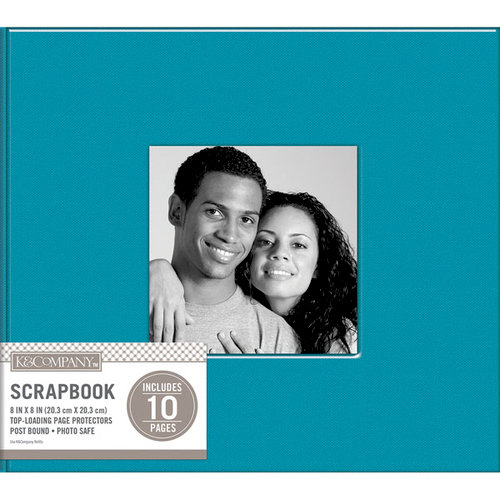 K and Company - 8 x 8 Scrapbook Window Album - Fabric - Blue