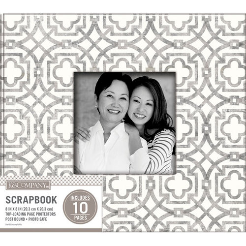 K and Company - 8 x 8 Scrapbook Window Album - Geo - Gray