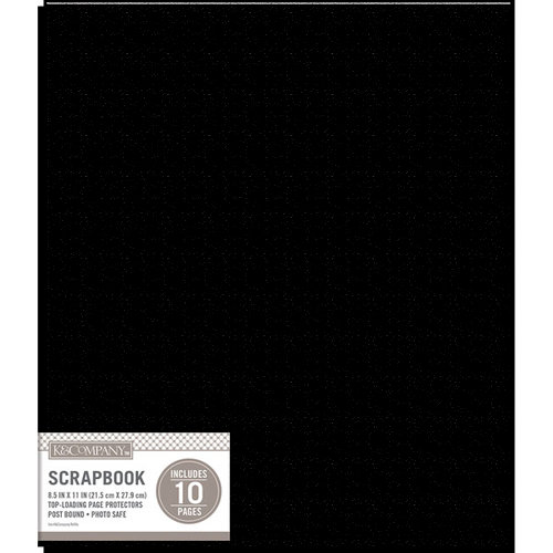 K and Company - 8.5 x 11 Scrapbook Album - Basic Faux Leather - Black