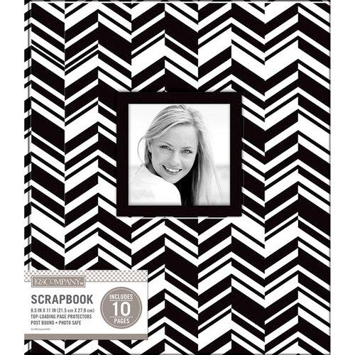 K and Company - 8.5 x 11 Scrapbook Window Album - Broken Chevron - Black and White