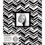K and Company - 8.5 x 11 Scrapbook Window Album - Broken Chevron - Black and White