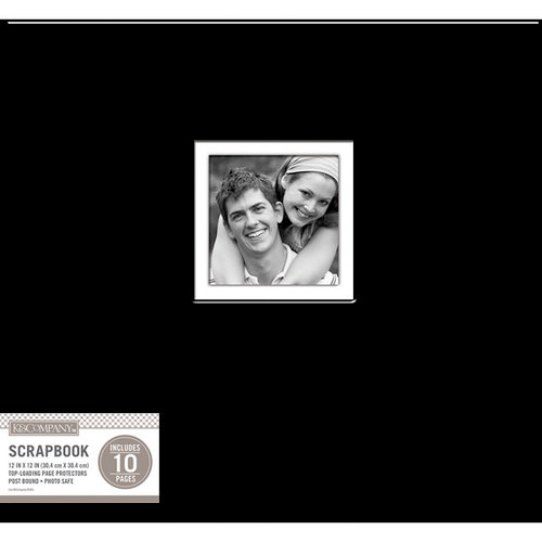 K and Company - 12 x 12 Scrapbook Window Album - Fabric - Black