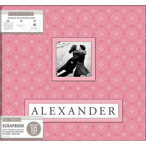 K and Company - Frame a Name - 12 x 12 Scrapbook Album - Pink