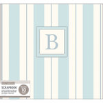 K and Company - 12 x 12 Scrapbook Album - Monogram - Stripe - Blue