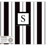 K and Company - 12 x 12 Scrapbook Album - Monogram - Stripe - Black and White