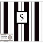 K and Company - 12 x 12 Scrapbook Album - Monogram - Stripe - Black and White