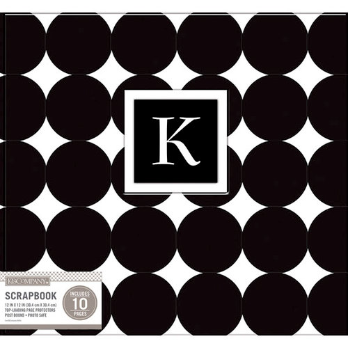 K and Company - 12 x 12 Scrapbook Album - Monogram - Dot - Black