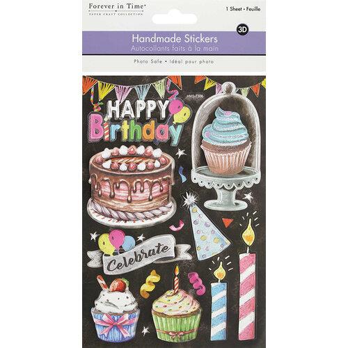 Multi Craft - 3D Handmade Stickers - Happy Birthday