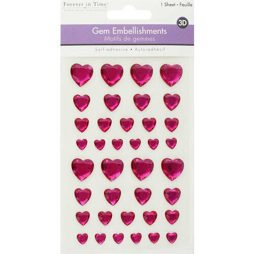 Multi Craft - 3D Gem Stickers - Pink Hearts