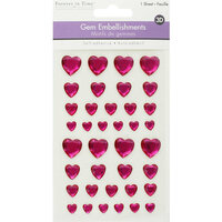 Multi Craft - 3D Gem Stickers - Pink Hearts