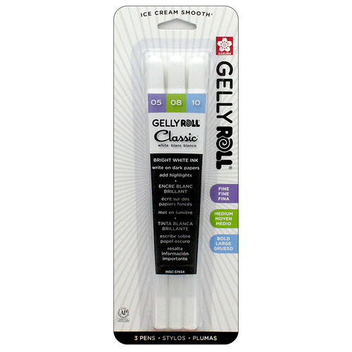 Sakura - Gelly Roll Pen - Classic Set - 05, 08 and 10 - White - 3 Pack