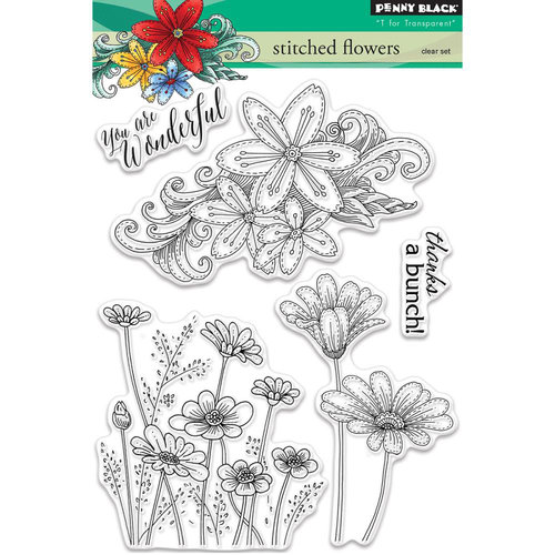 Penny Black - Clear Photopolymer Stamps - Stitched Flowers