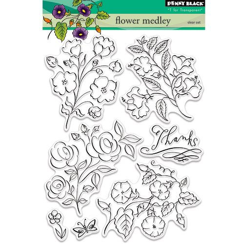 Penny Black - Clear Photopolymer Stamps - Flower Medley