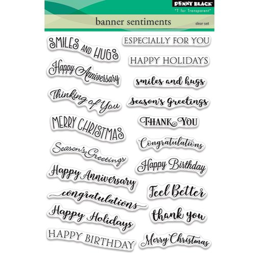 Penny Black - Clear Photopolymer Stamps - Banner Sentiments