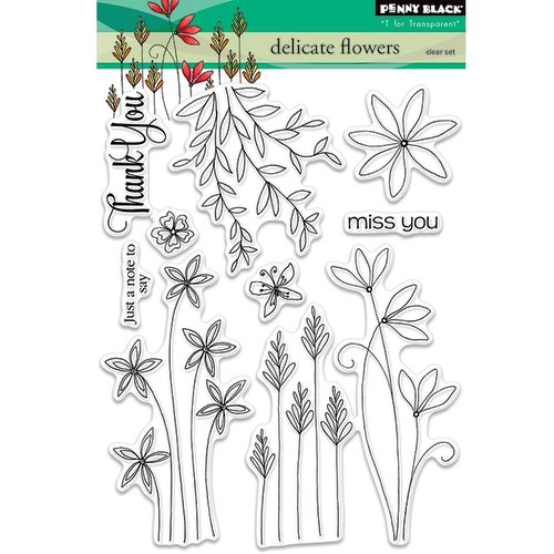 Penny Black - Clear Acrylic Stamps - Delicate Flowers