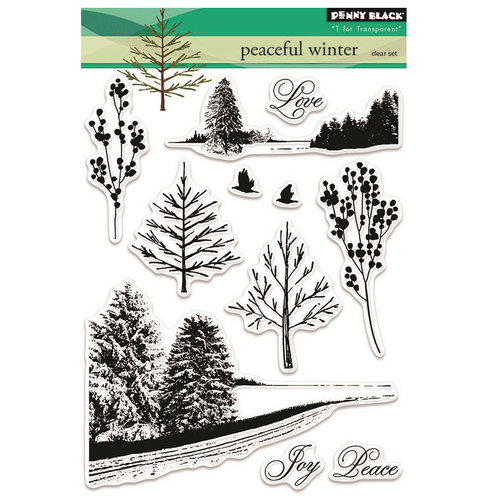 Penny Black - Peaceful Winter Collection - Christmas - Clear Acrylic Stamps - Peaceful Winter