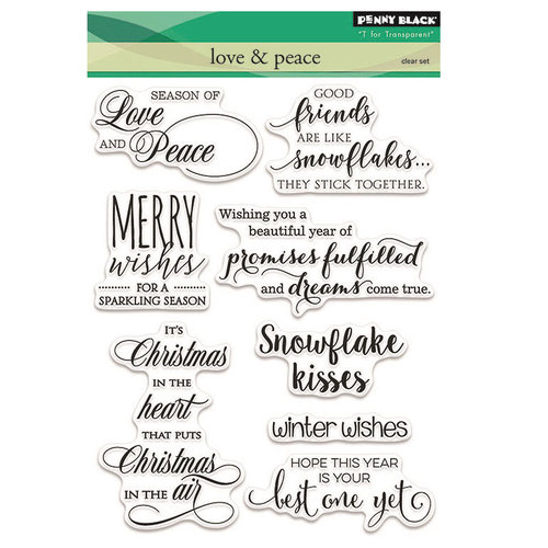 Penny Black - Peaceful Winter Collection - Christmas - Clear Acrylic Stamps - Love and Peace