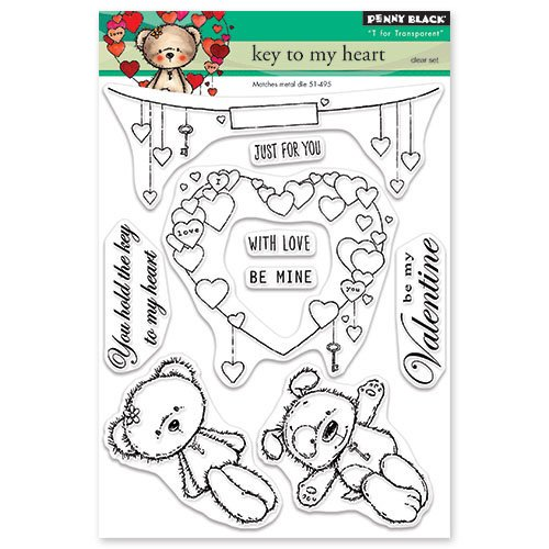 Penny Black - Happy Heart Day - Clear Photopolymer Stamps - Key to My Heart