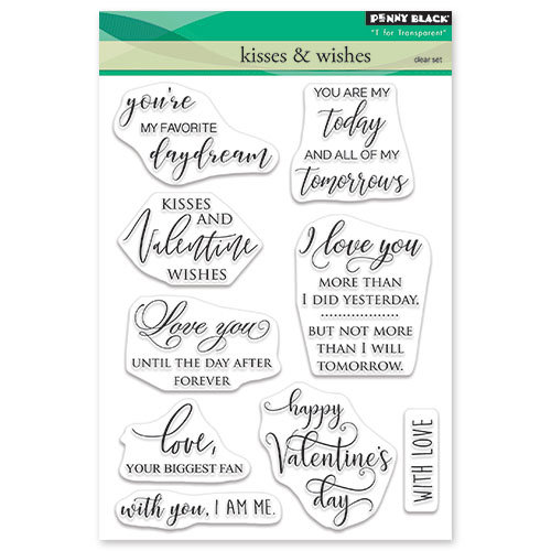 Penny Black - Happy Heart Day - Clear Photopolymer Stamps - Kisses and Wishes