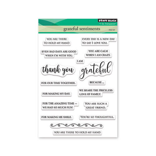 Penny Black - Timeless Collection - Clear Photopolymer Stamps - Grateful Sentiments