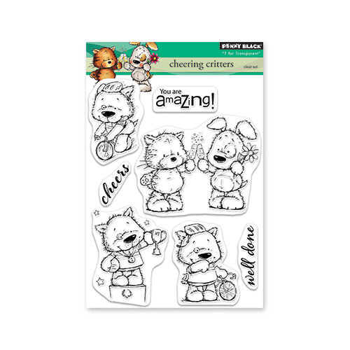 Penny Black - Timeless Collection - Clear Photopolymer Stamps - Cheering Critters