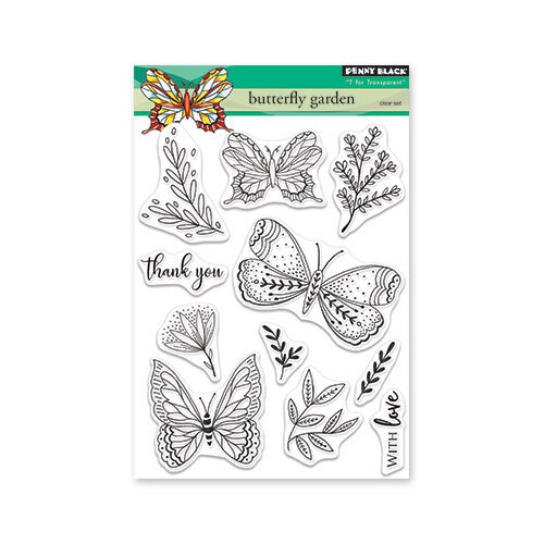 Penny Black - Timeless Collection - Clear Photopolymer Stamps - Butterfly Garden