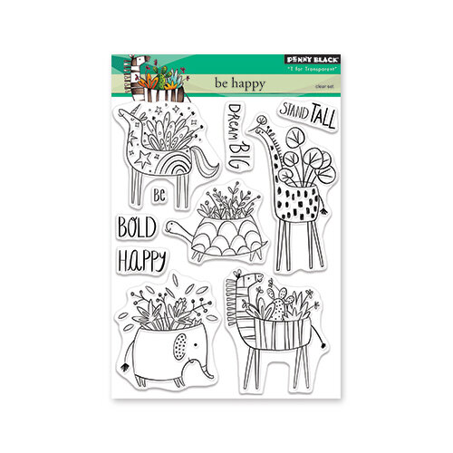 Penny Black - Full Bloom - Clear Photopolymer Stamps - Be Happy