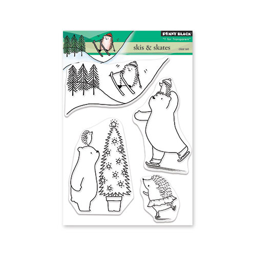 Penny Black - Christmas - Clear Photopolymer Stamps - Skis And Skates