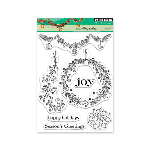 Penny Black - Christmas - First Snow Collection - Clear Photopolymer Stamps - Sparking Sprigs