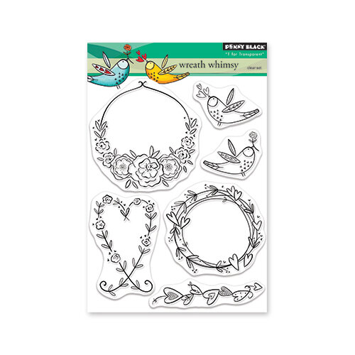 Penny Black - Share The Love Collection - Clear Photopolymer Stamps - Wreath Whimsy